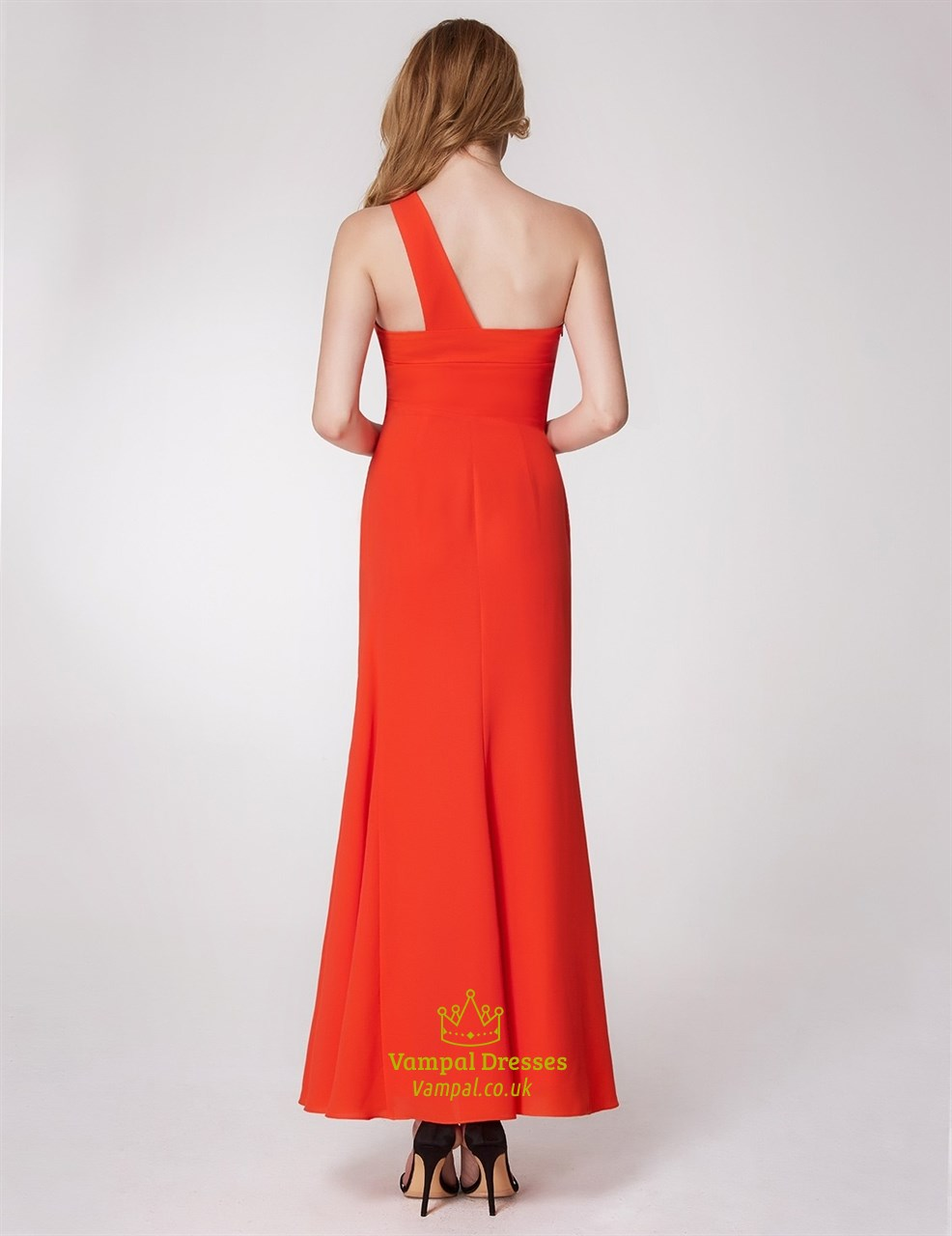 orange one shoulder ruched empire waist sheath chiffon