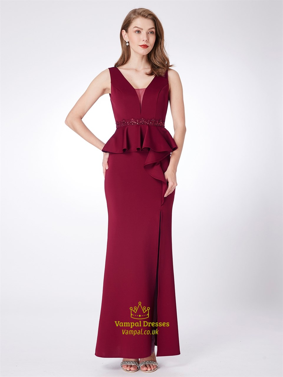 Burgundy V Neck Sheath Beaded Prom Dress With Ruffles And
