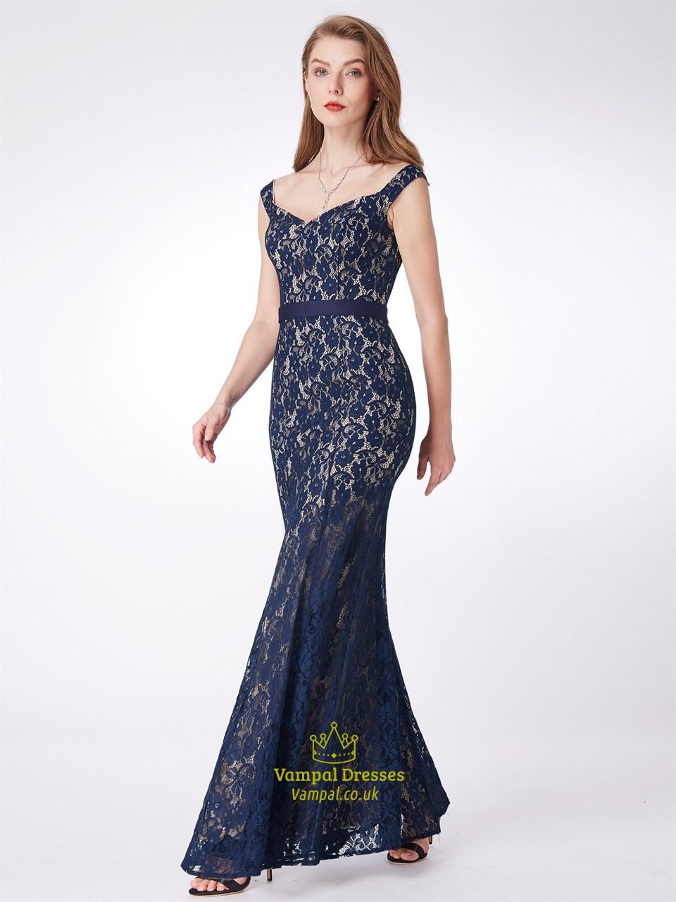 Elegant Off The Shoulder Cap Sleeve Sheath Lace Long Prom