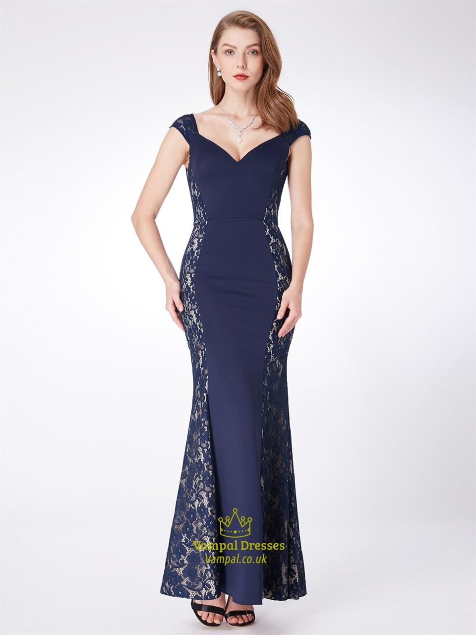 Navy V Neck Cap Sleeve V Back Floor Length Prom Dress With