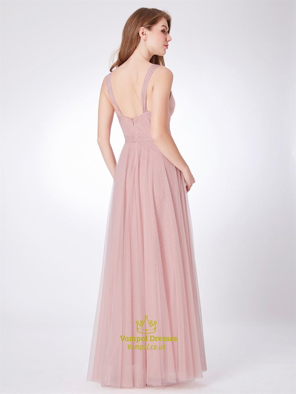 b977c89cef Blush Pink V Neck Sleeveless Ruched Empire Waist Tulle .