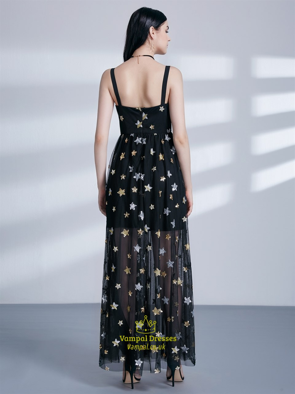 Long A Line Black Square Neck Sleeveless Tulle Maxi Dress
