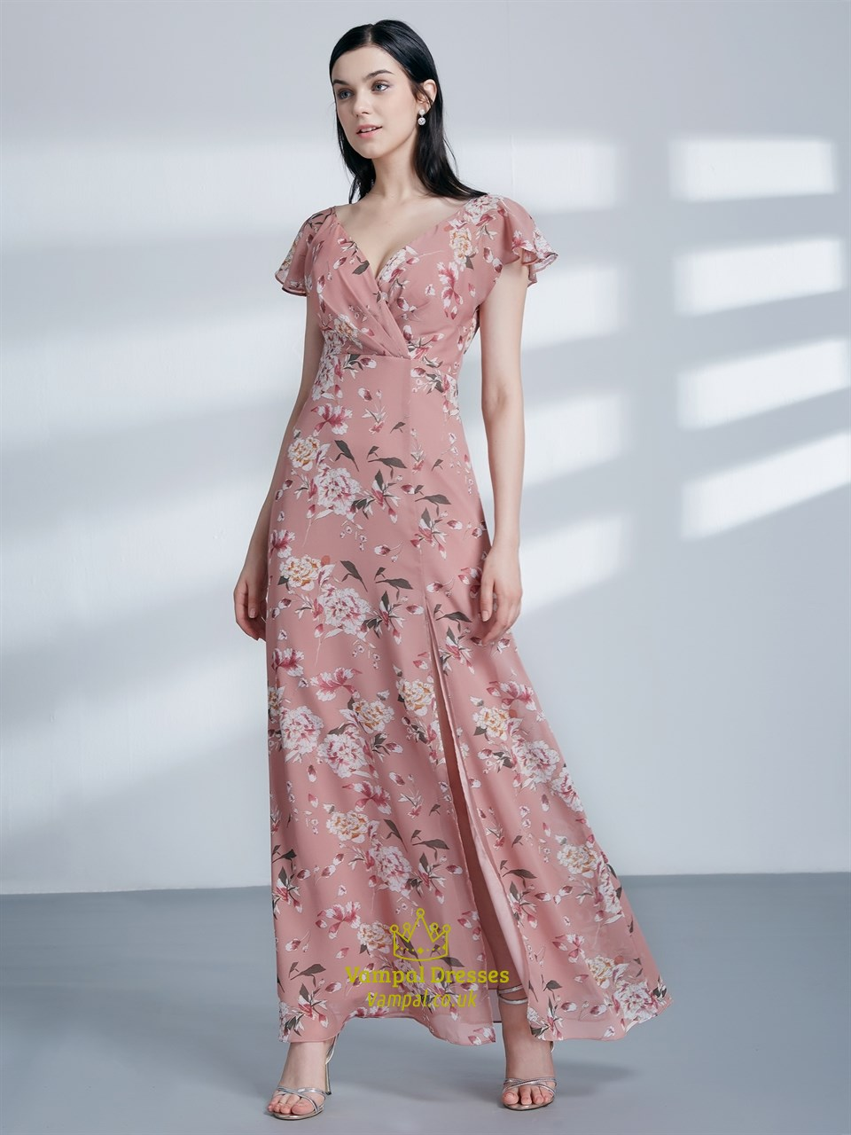 Pink V Neck Flutter Sleeve Ruched Floral Print Maxi Dress