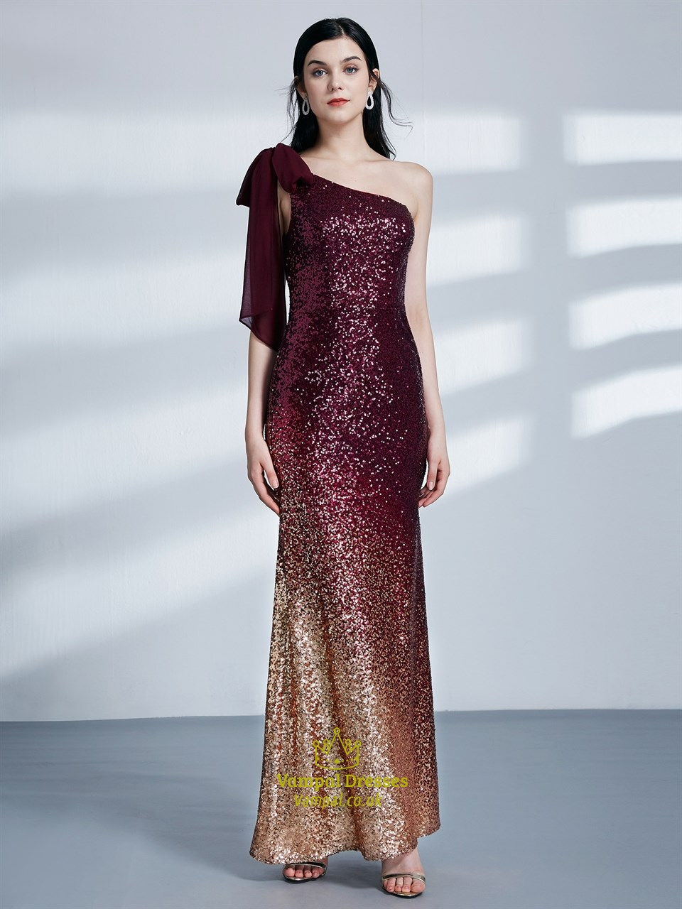 Burgundy One Shoulder Sleeveless Sheath Sequin Long Prom Dress ...