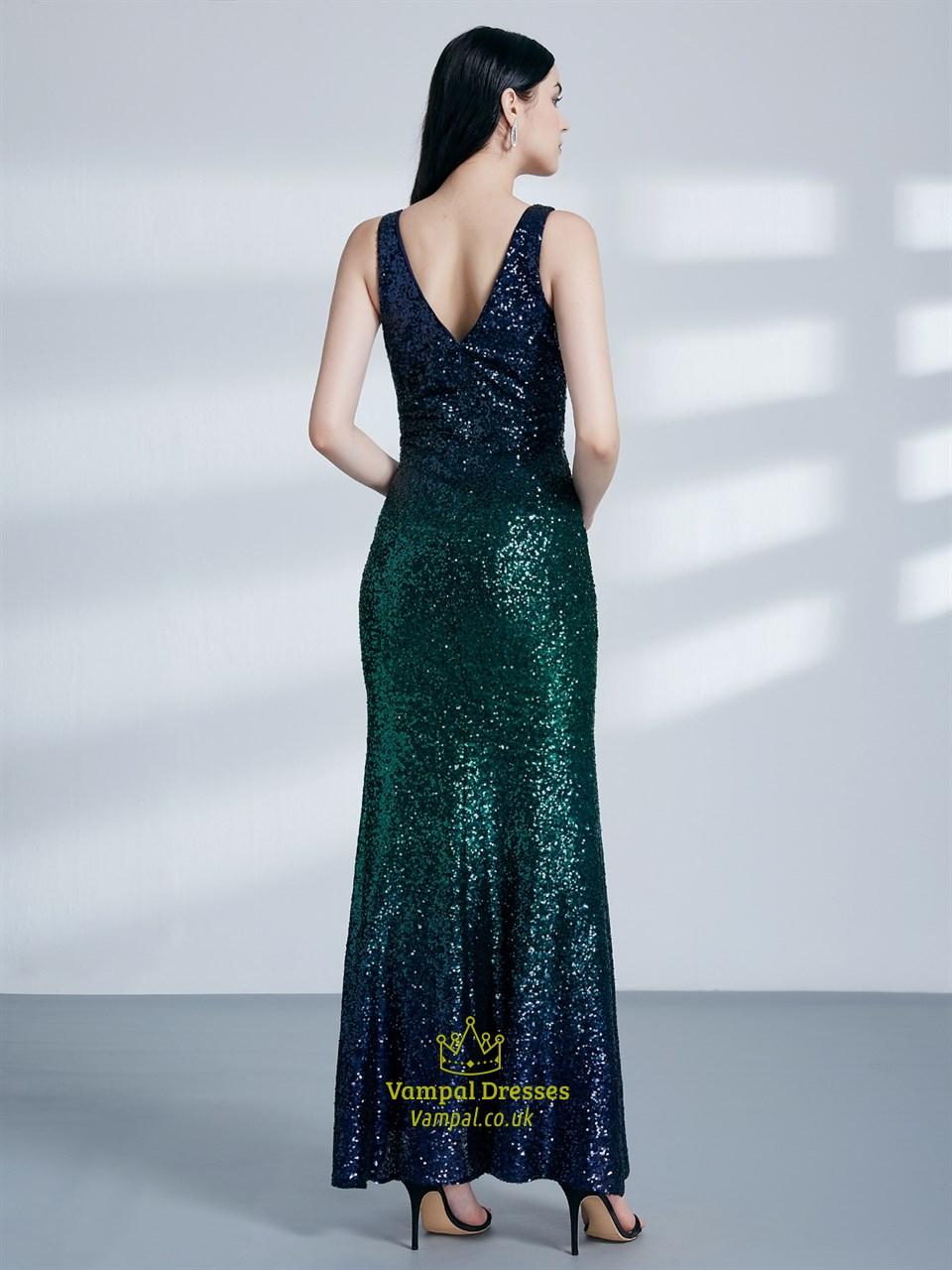 emerald green v neck sleeveless sequin long prom dress