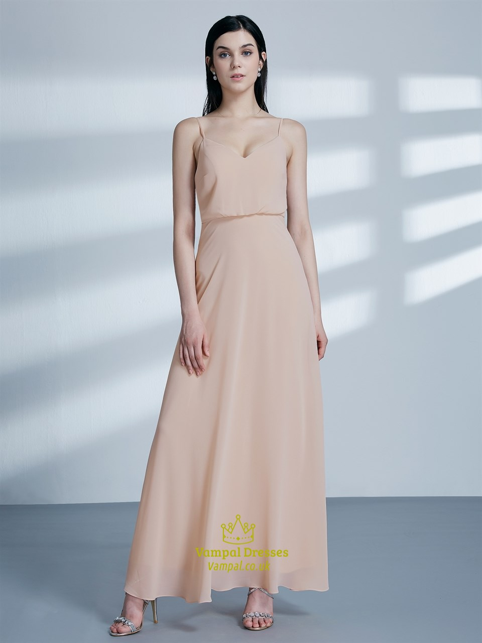 Simple A Line Blush Pink Spaghetti Strap Chiffon Long Prom