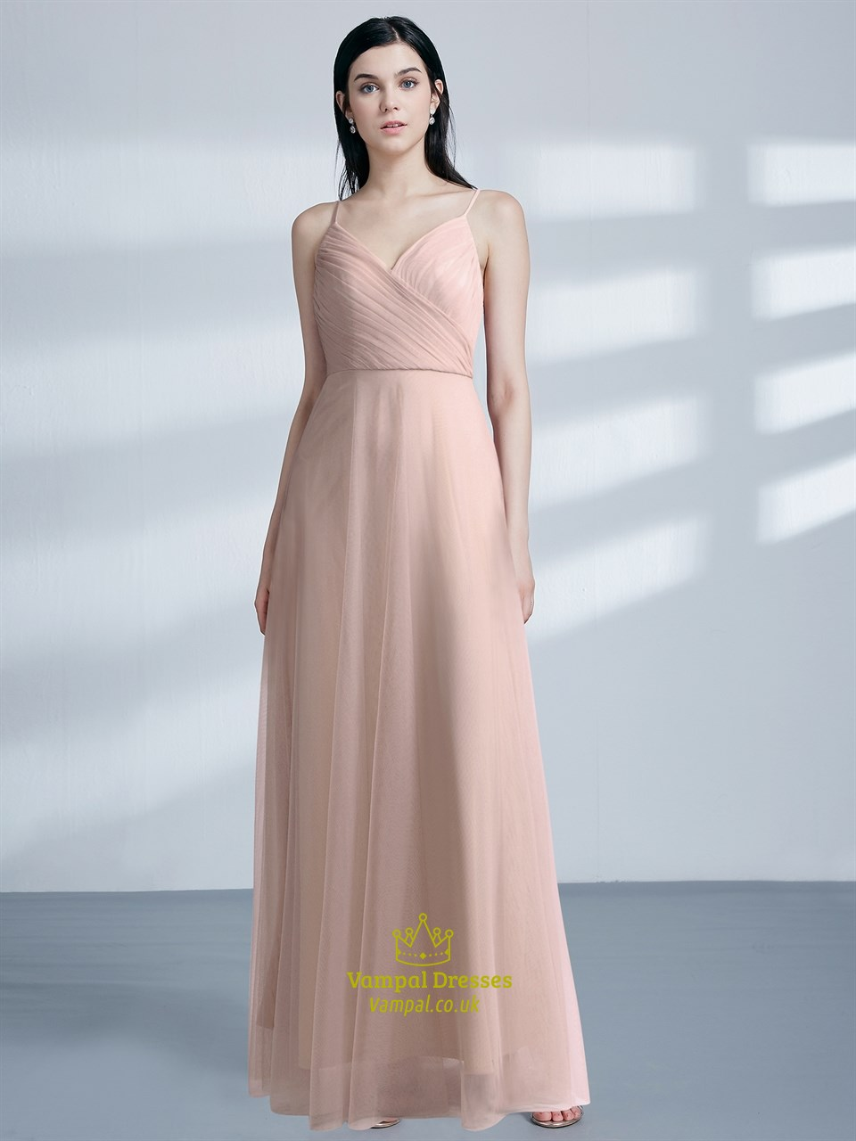 Blush Pink Sleeveless Ruched Bodice Floor Length Tulle