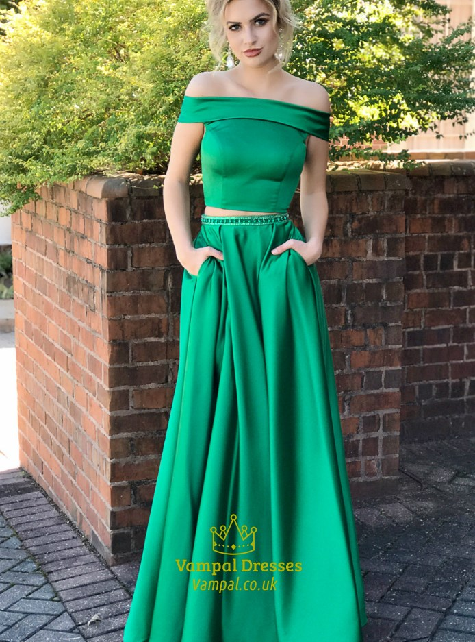A Line Off The Shoulder Beaded Two Piece Prom Dress With