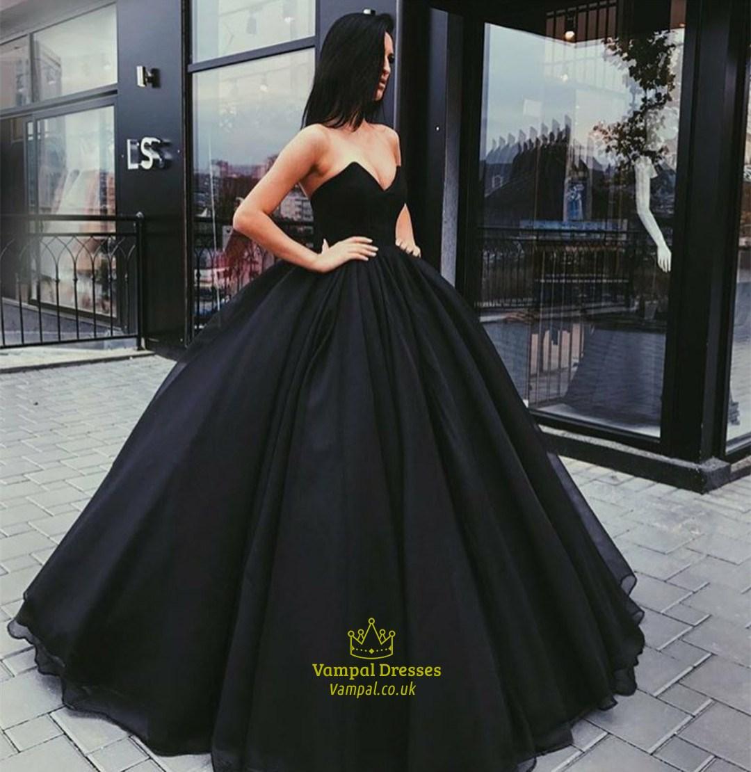 Elegant Black Sweetheart Sleeveless Tulle Ball Gown Long Prom Dress ...