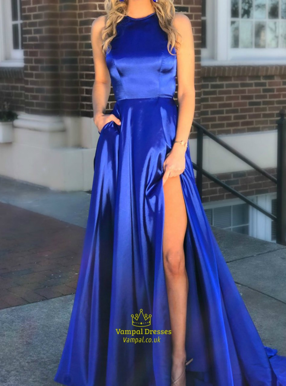 Royal Blue High Neck Cut Out Back Satin Long Prom Dress