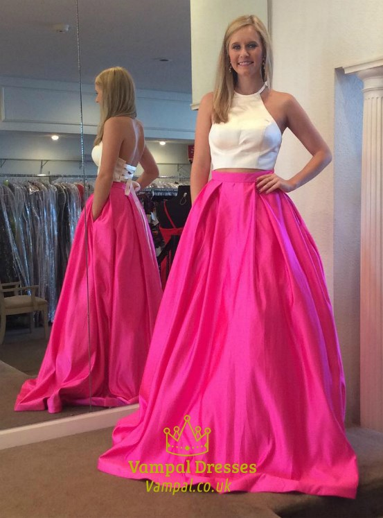 b74a013025dab Fuchsia Halter Neck Two Piece Prom Dress With Lace Up And Pockets ...