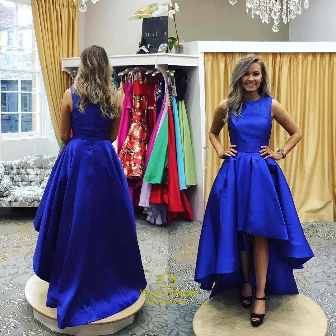 A Line Royal Blue High Neck Sleeveless Satin High Low Prom