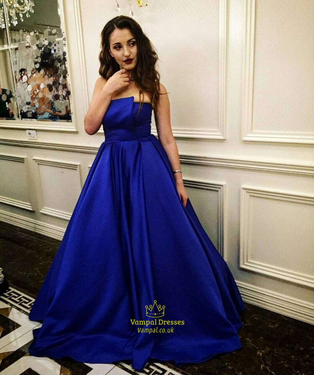 elegant royal blue strapless sleeveless satin long prom