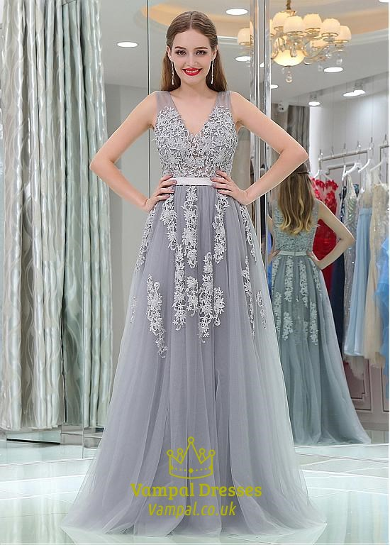 94809ae61b9153 Princess A Line Grey V Neck Sleeveless Applique Tulle Prom Dresses SKU -C861