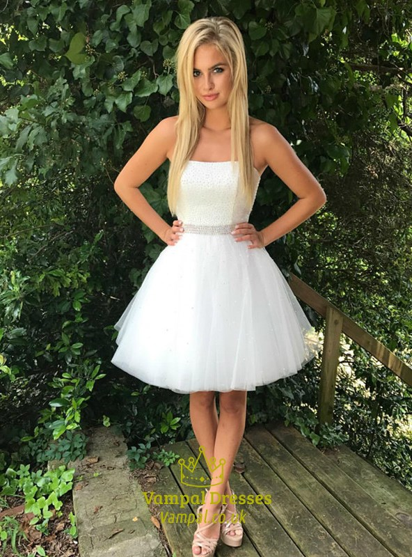 best quality for drop shipping exceptional range of styles White Strapless Sleeveless Beaded Bodice Tulle Short Prom Dress