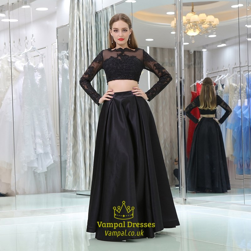 407fed6d0ae44 A Line Black Long Sleeve Lace Top Satin Bottom Two Piece Prom Dress SKU  -C911