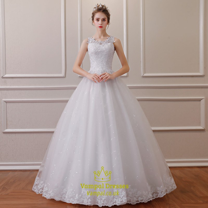 Jewel Sleeveless Beading Applique Sequin Embellished Wedding Dress ...