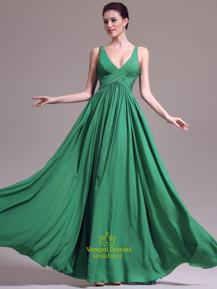 A Line Emerald Green V Neck Sleeveless Ruched Chiffon Long