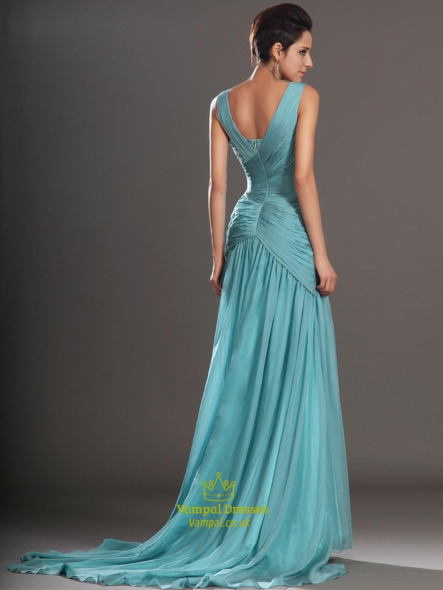 light blue square neckline beaded ruched prom dress with. Black Bedroom Furniture Sets. Home Design Ideas