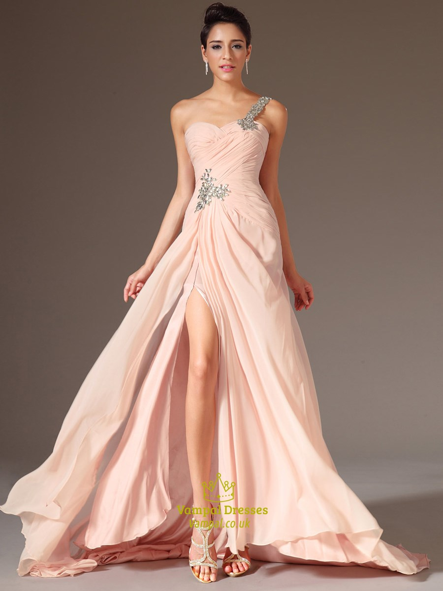 Blush Pink One Shoulder Beaded Ruched Chiffon Prom Dress