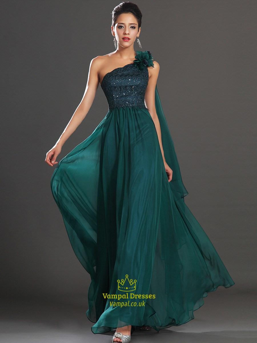 A Line Emerald Green Sleeveless Beaded Chiffon Prom Dress