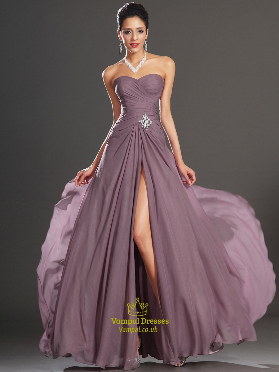 Strapless Sleeveless Crystal Ruched Chiffon Prom Dress