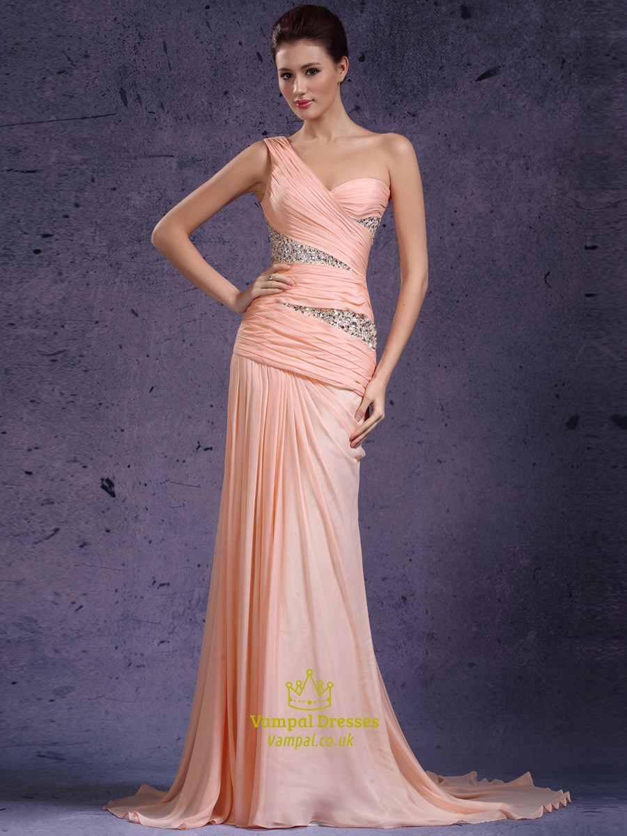 e91c0d97ea8 Pink One Shoulder Ruched Sheath Beaded Chiffon Prom Dress With Train SKU  -CE048