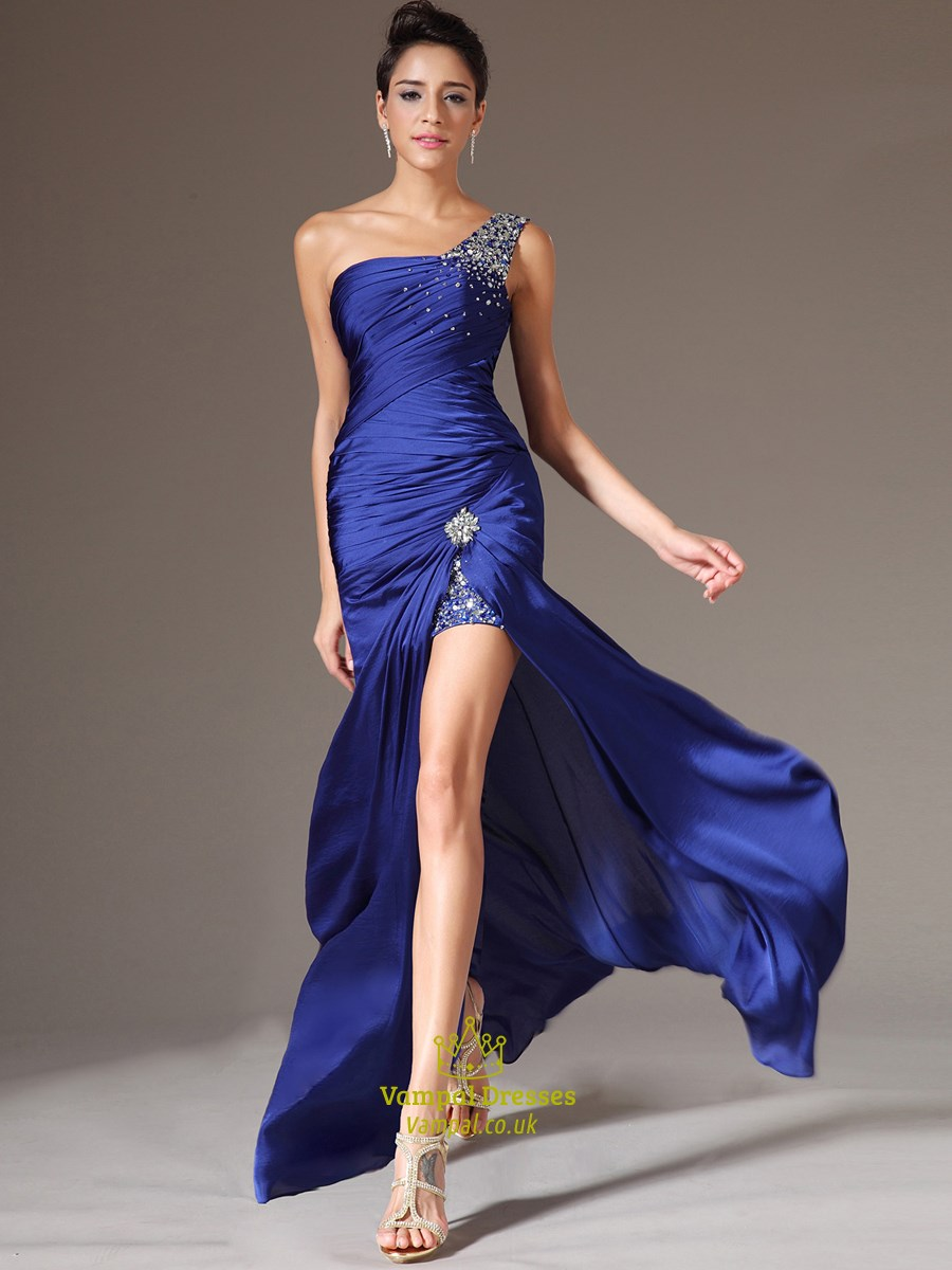 Royal Blue One Shoulder Beaded Sheath Long Prom Dress With ...