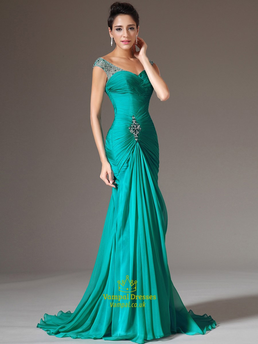 Aqua Blue V Neck Sleeveless Beaded Ruched Sheath Long Prom