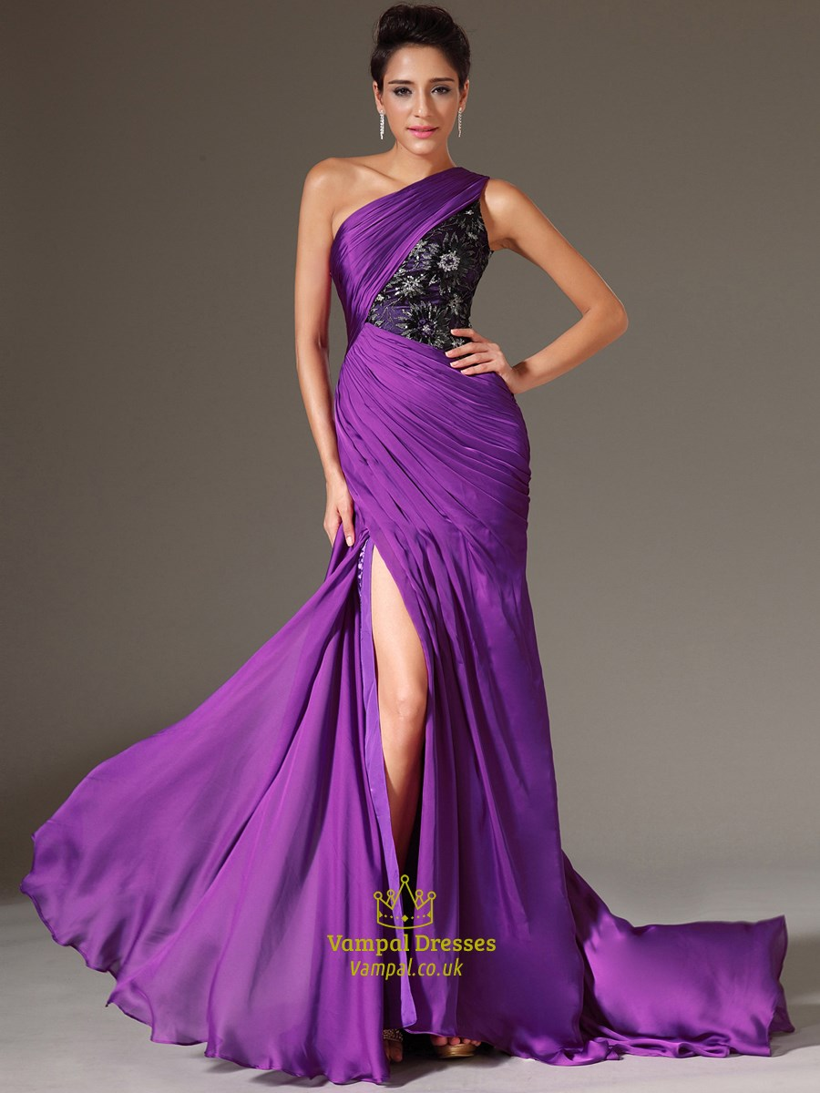 Purple One Shoulder Beaded Applique Long Prom Dress With