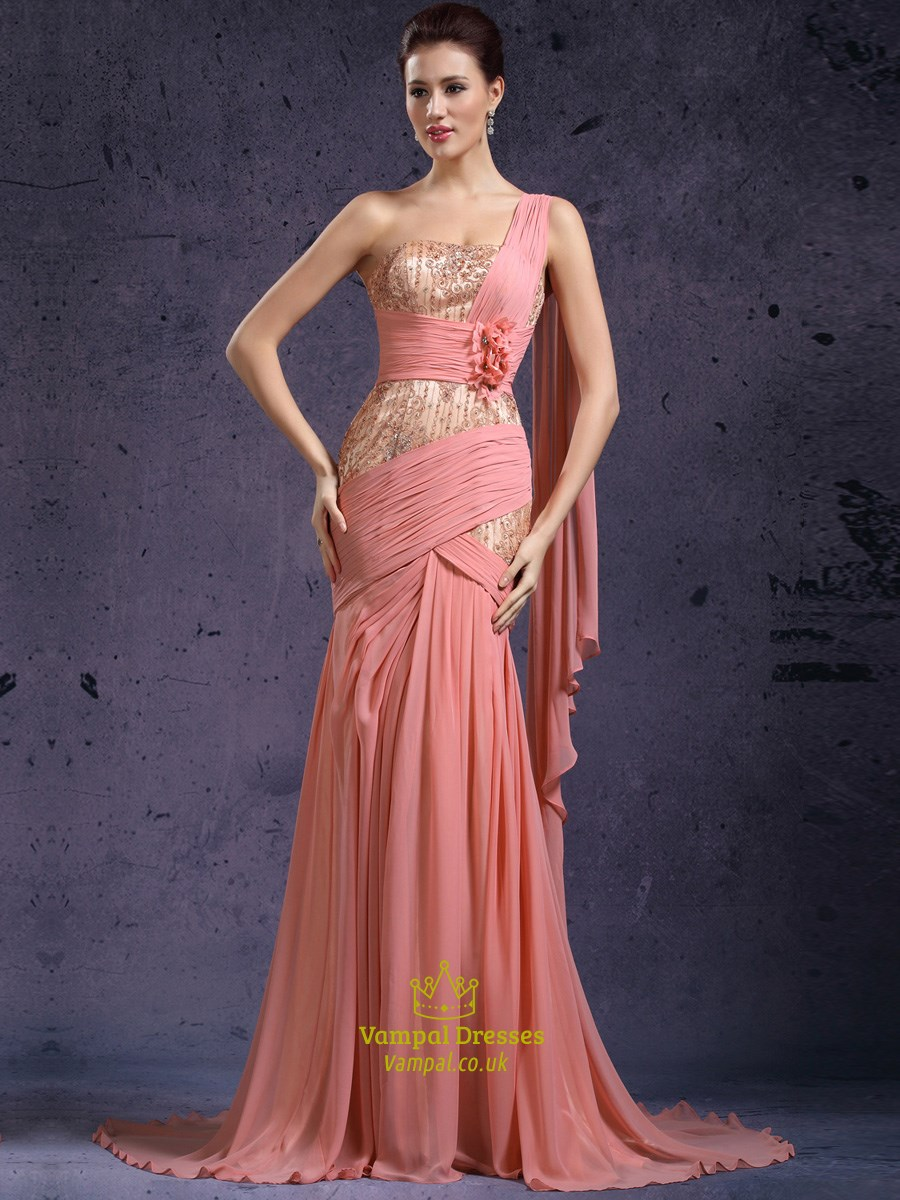 one shoulder beading applique chiffon long prom dress with