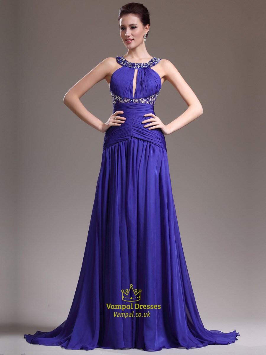 Royal Blue Halter Neck Keyhole Beaded Ruched Prom Dress