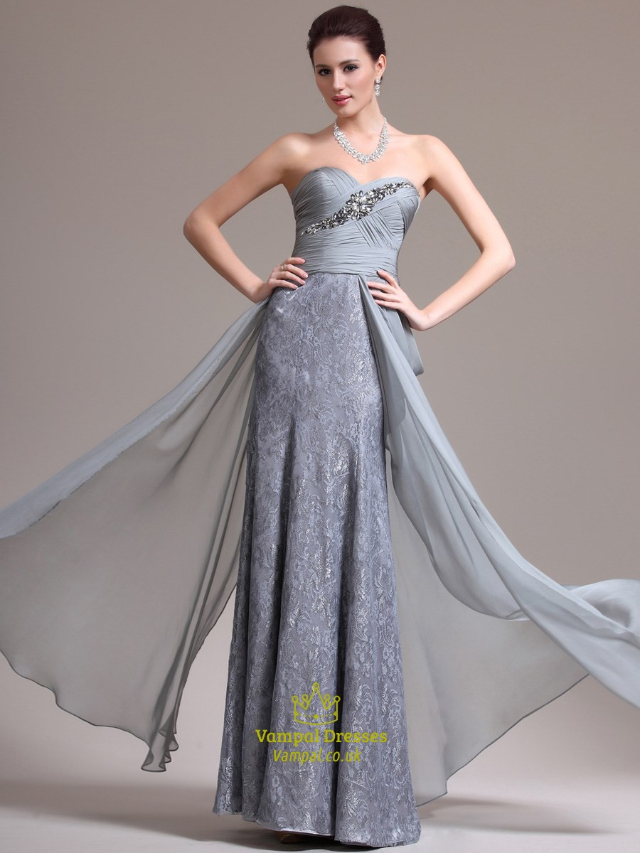 Grey Sweetheart Neckline Crystal Sheath Long Chiffon Prom