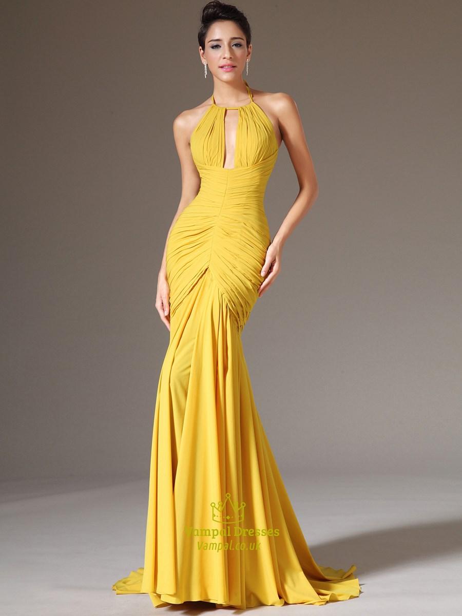yellow halter neck keyhole sleeveless ruched bodice prom