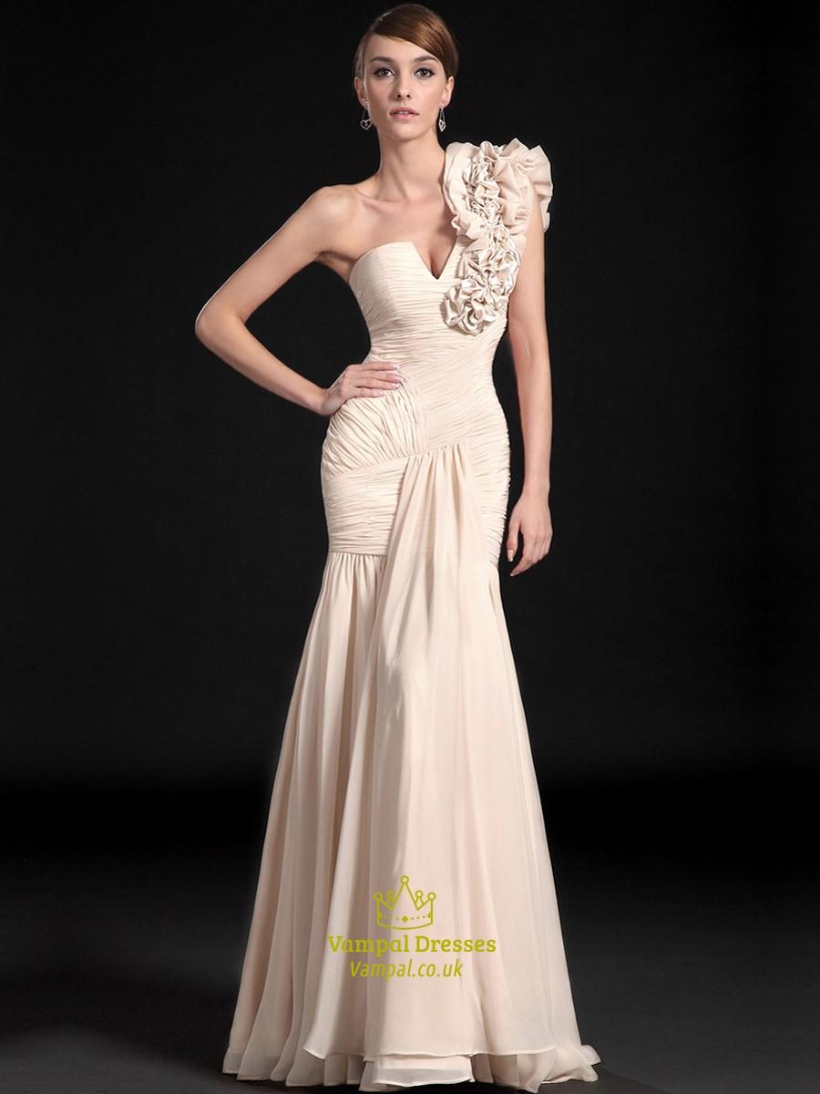 Champagne One Shoulder Ruched Floor Length Sheath Chiffon Prom Dress ...