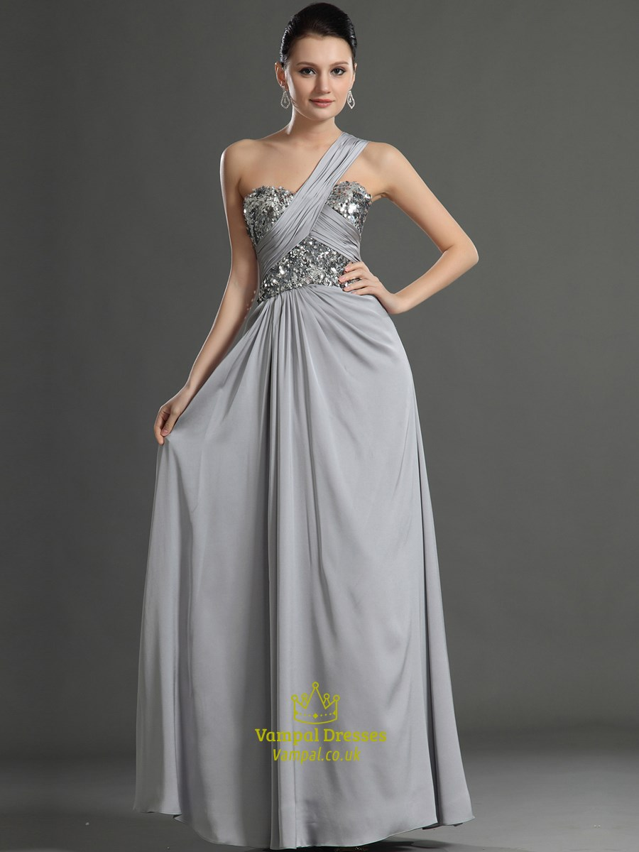 a121c527768 Grey One Shoulder Sleeveless Ruched Long Prom Dress With Sequin Top SKU  -CE138