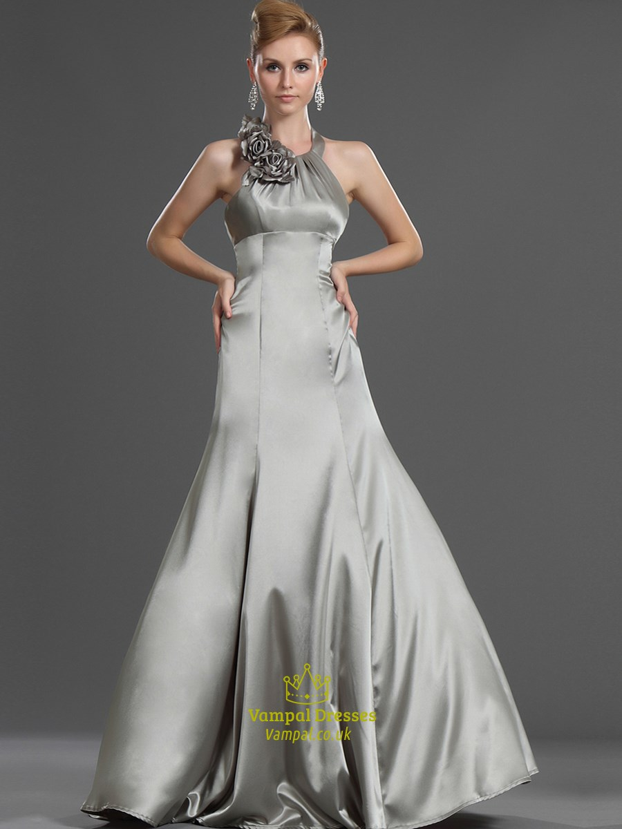 Simple Silver Halter Neck Sleeveless Long Prom Dress With