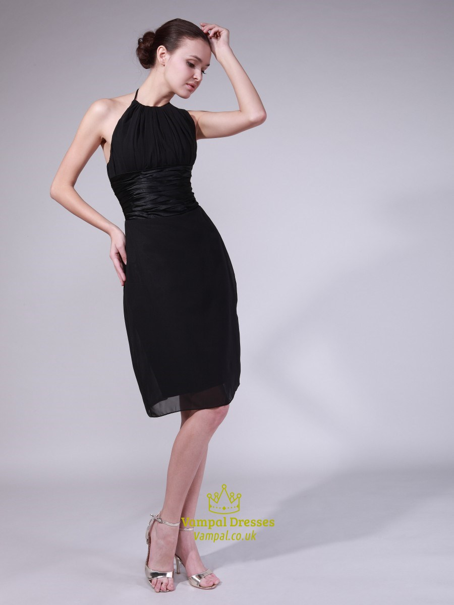f24d780b4ae0ff Black Halter Neck Sleeveless Sheath Chiffon Short Homecoming Dresses SKU  -CE151