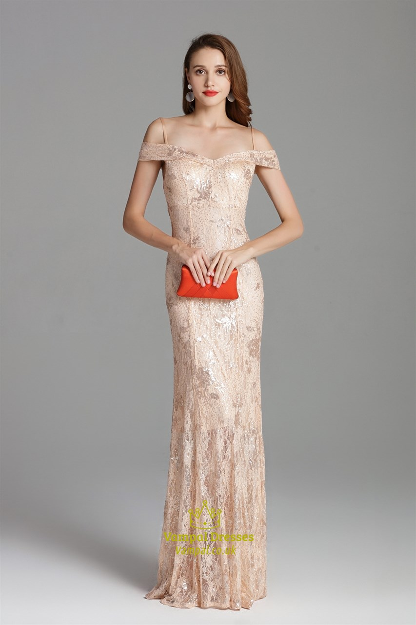 Off The Shoulder Champagne Lace Overlay Dresses With