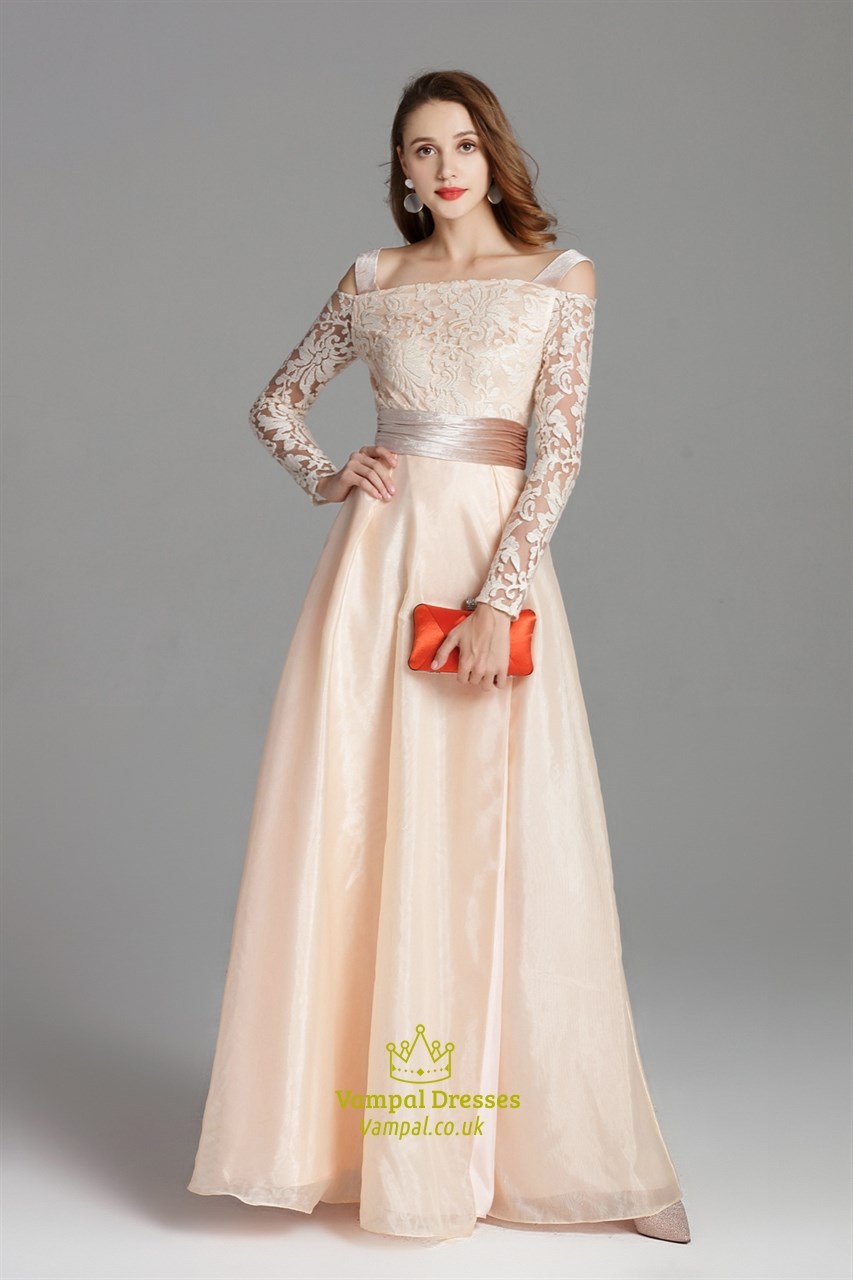 fb853f671ce2 Champagne Off The Shoulder Embellished Long Prom Dress With Side Split SKU  -CK815