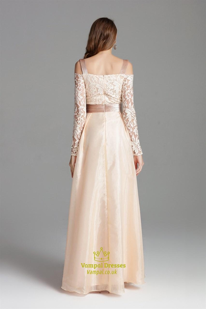 champagne off the shoulder embellished long prom dress