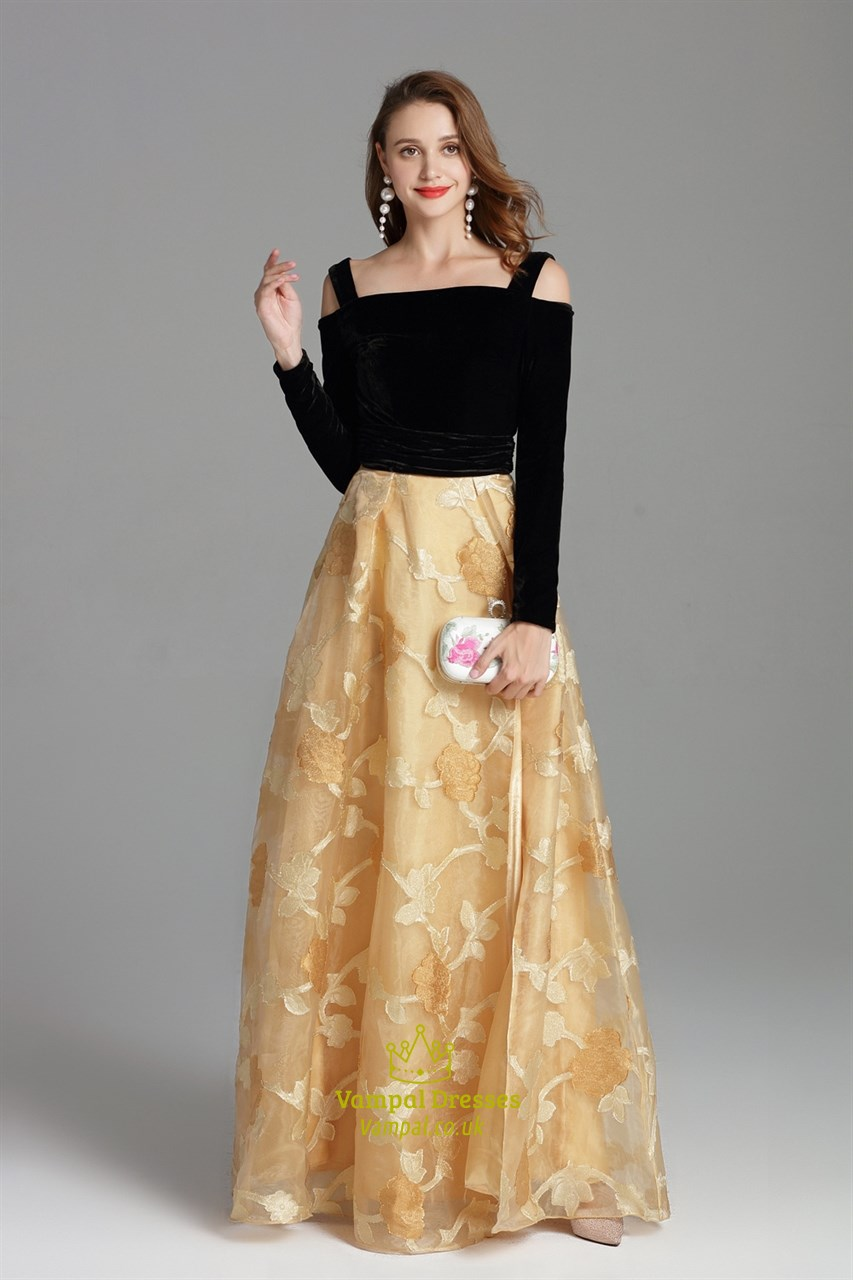 long party long sleeve flower dress