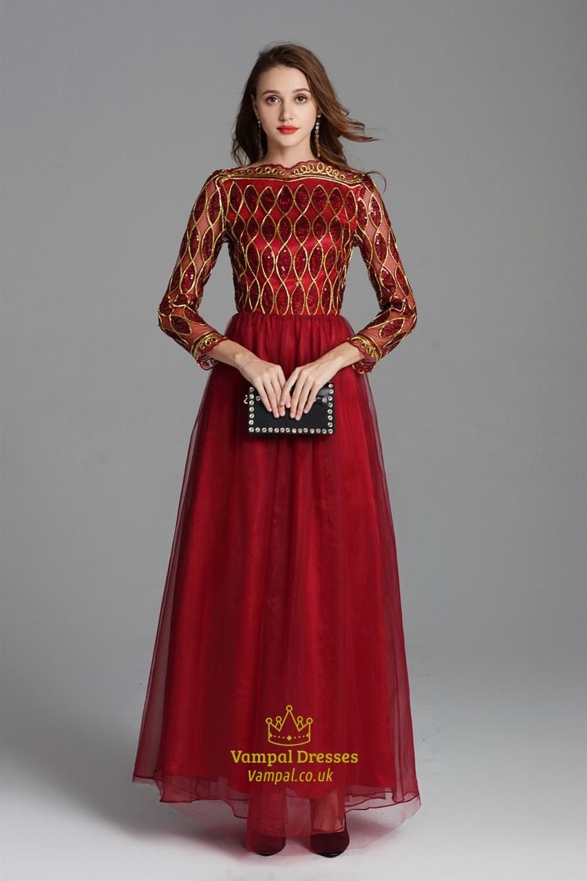 a2c5721f Burgundy Sequin Embellished Floor Length Prom Dress With Long Sleeves SKU  -CK822