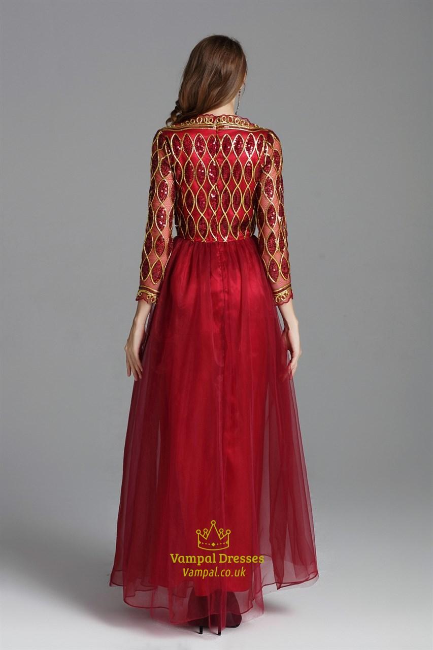 Burgundy Sequin Embellished Floor Length Prom Dress With