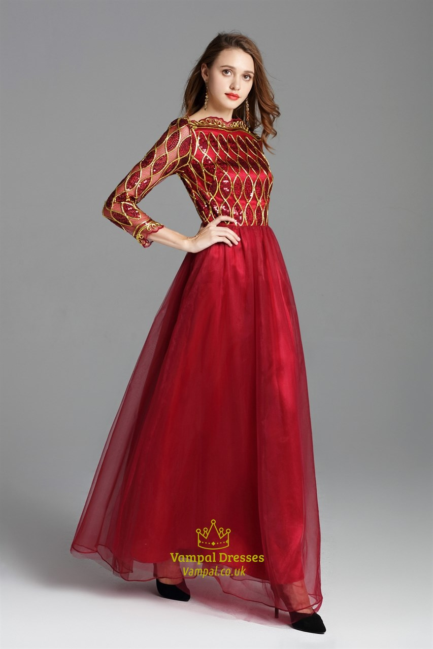 Burgundy Sequin Embellished Floor Length Prom Dress With
