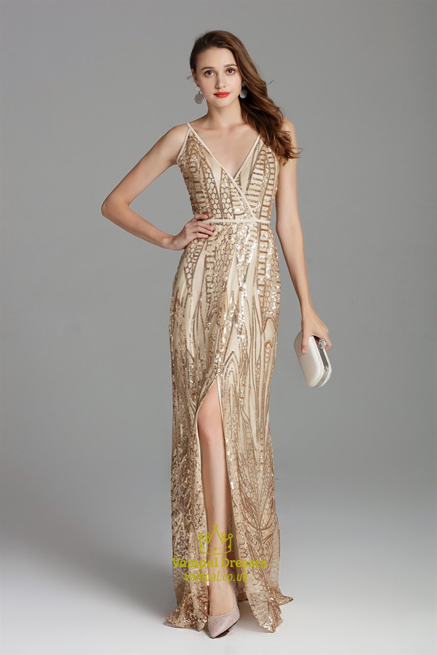 V Neck Champagne Long Sequin Side Slits Formal Prom Dress