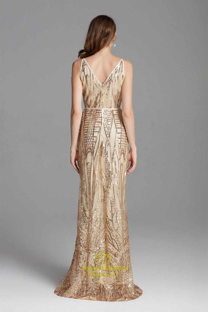 41403c07 V Neck Champagne Long Sequin Side Slits Formal Prom Dress With Straps