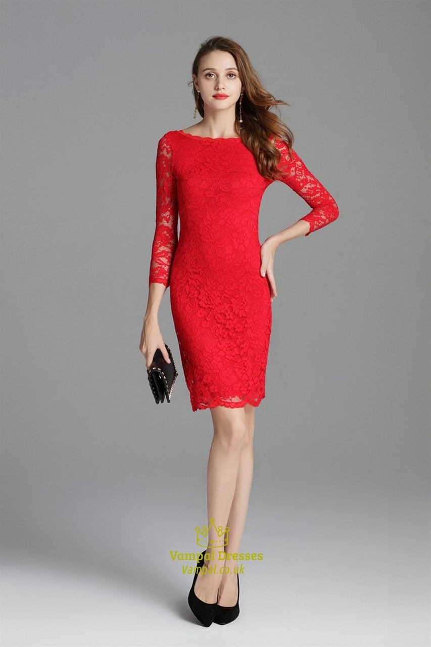 Classic Red Lace Overlay Sheath Short Cocktail Dress With 3  4 Sleeves