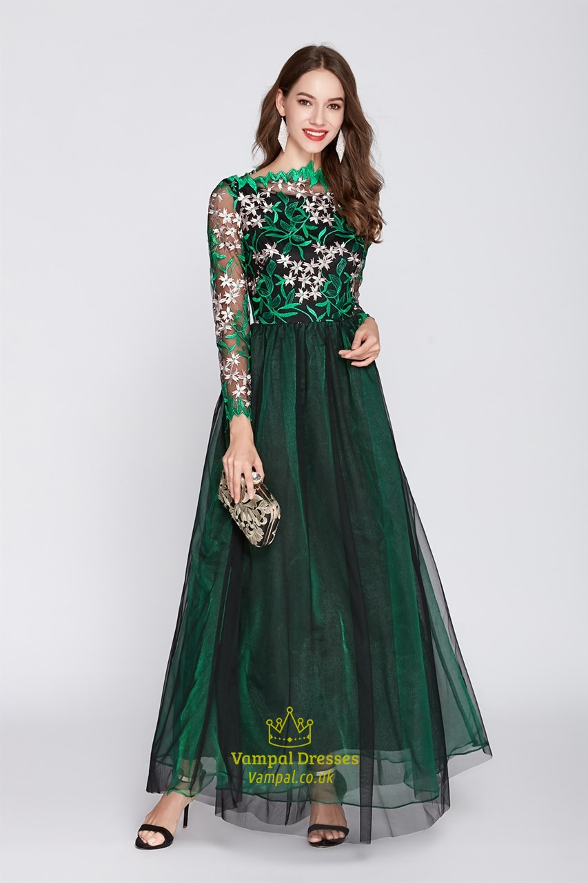 dbfda531f20 Emerald Green Floor Length Prom Dress With Lace Bodice And Long Sleeves.  Product Photos. Color