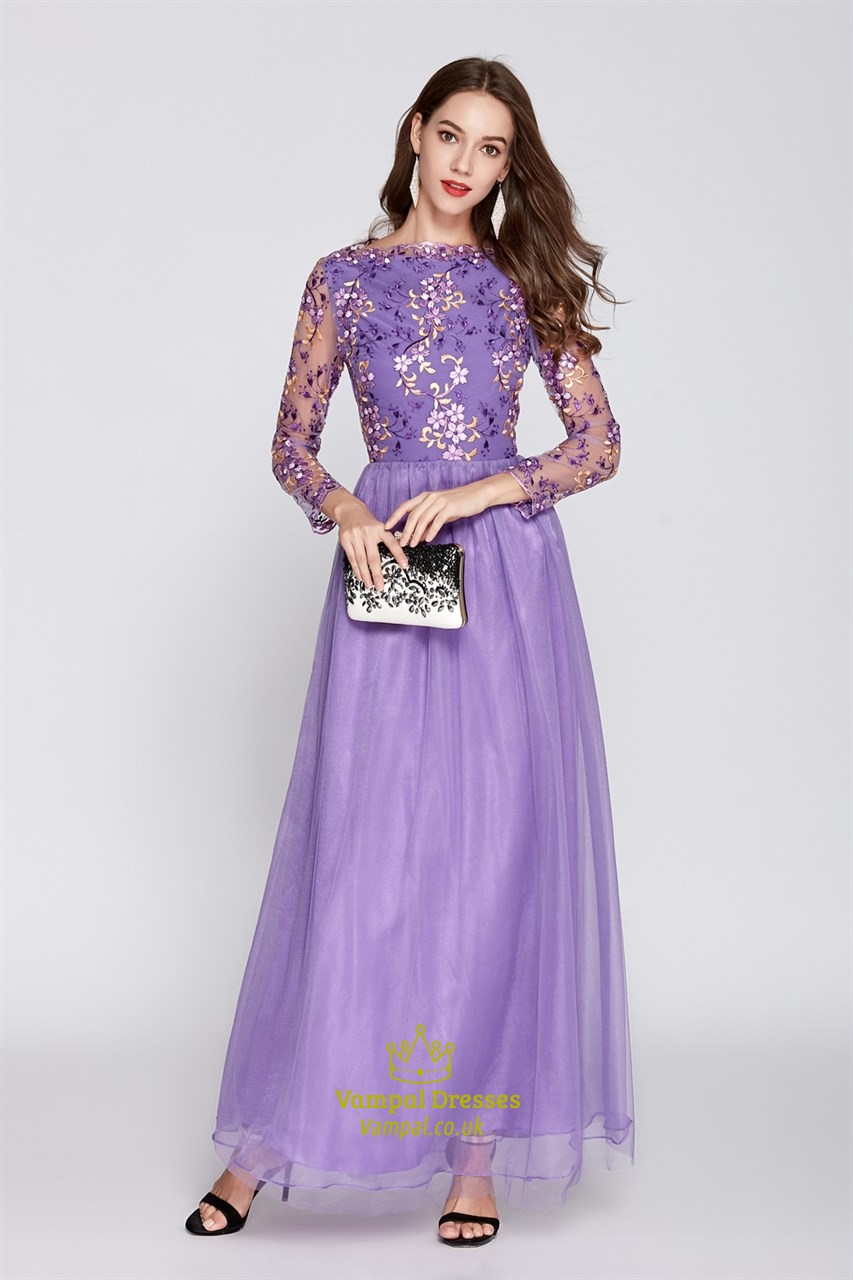 c8af68e3ff71 Peach Floral Embroidered Tulle Bridesmaid Dresses With Lace Sleeves.  Product Photos. Color